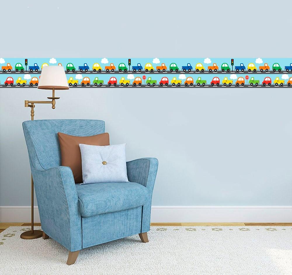Adesivo faixa decorativa de parede infantil borda bebe  - Carros