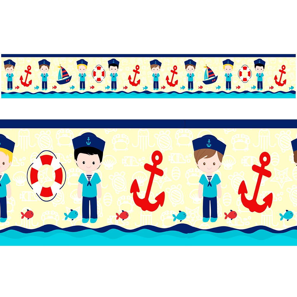 Adesivo faixa decorativa de parede infantil borda bebe - Marinheiro