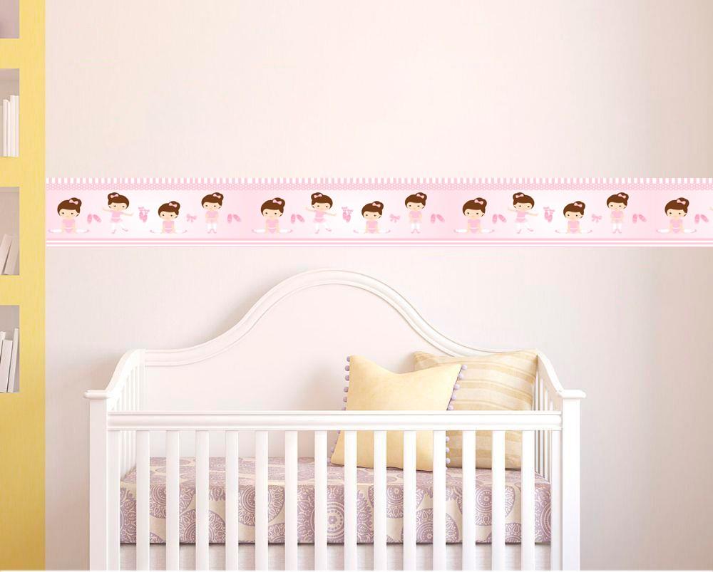 Adesivo faixa decorativa de parede infantil borda bebe - Menina Bailarina
