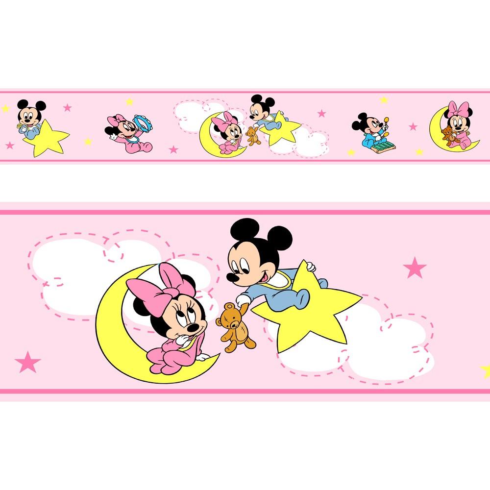 Adesivo faixa decorativa de parede infantil borda bebe rosa - Mickey, Minie, Baby Disney