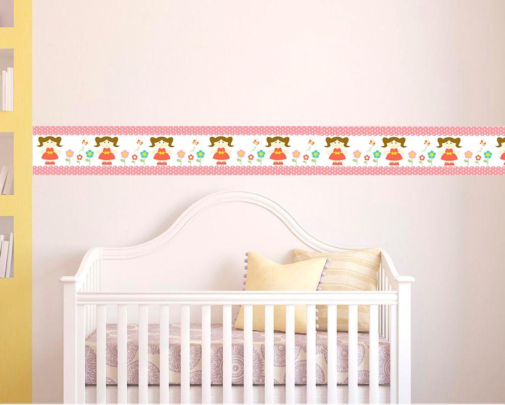 Adesivo faixa decorativa de parede infantil borda bebe rosa - Menina Florida