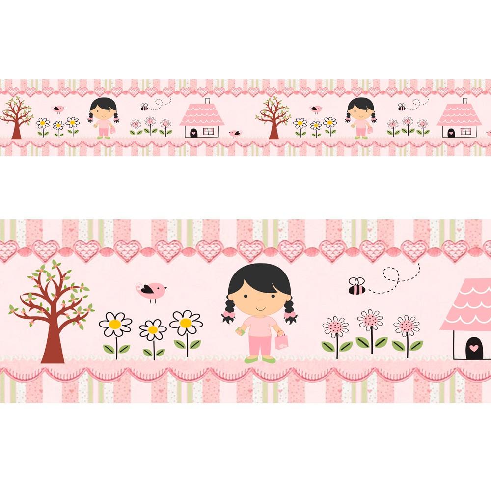 Adesivo faixa decorativa de parede infantil borda bebe rosa - Menina Jardim