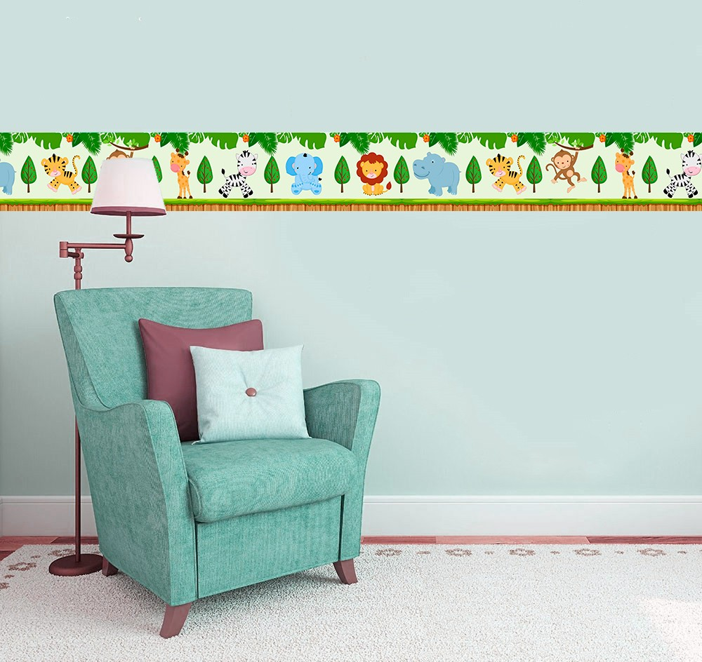 Adesivo faixa decorativa de parede infantil borda bebe  - Safari 2