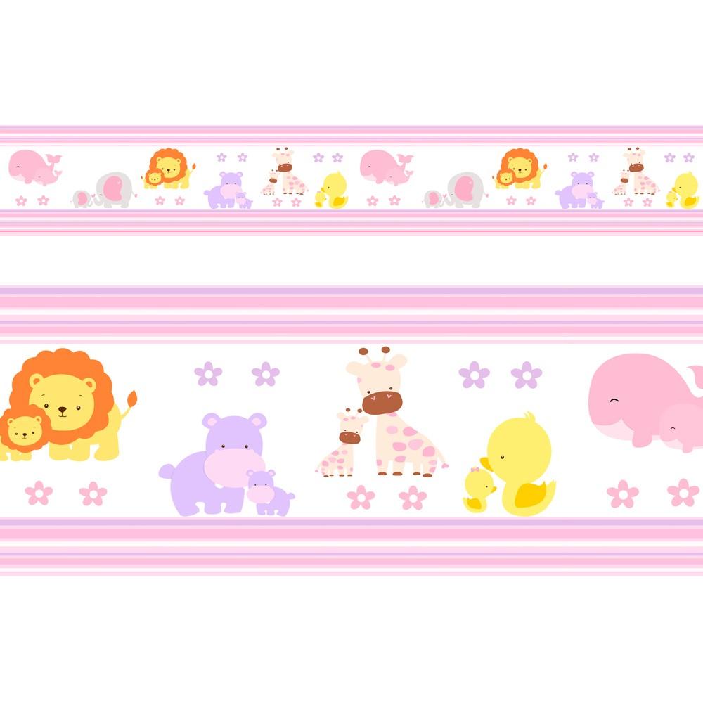 Adesivo faixa decorativa de parede infantil borda bebe  - Safari