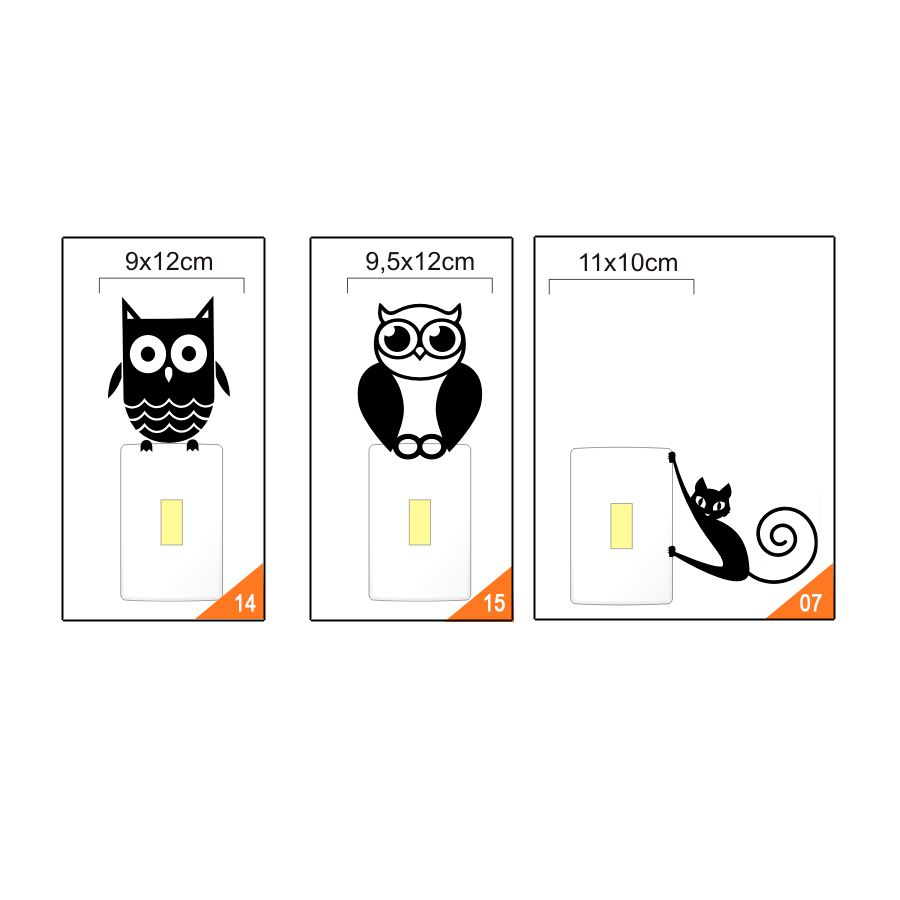 Adesivo Interruptor Espelho Tomada Vários Modelos - kit com 5 adesivos a Escolha