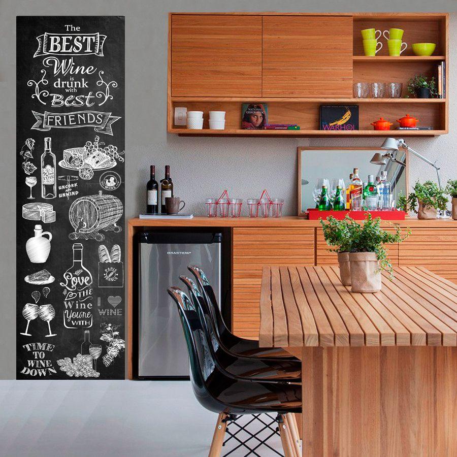 Adesivo Parede Chalkboard lousa Adega, Vinhos e Queijos 1,80 x 0,50 m