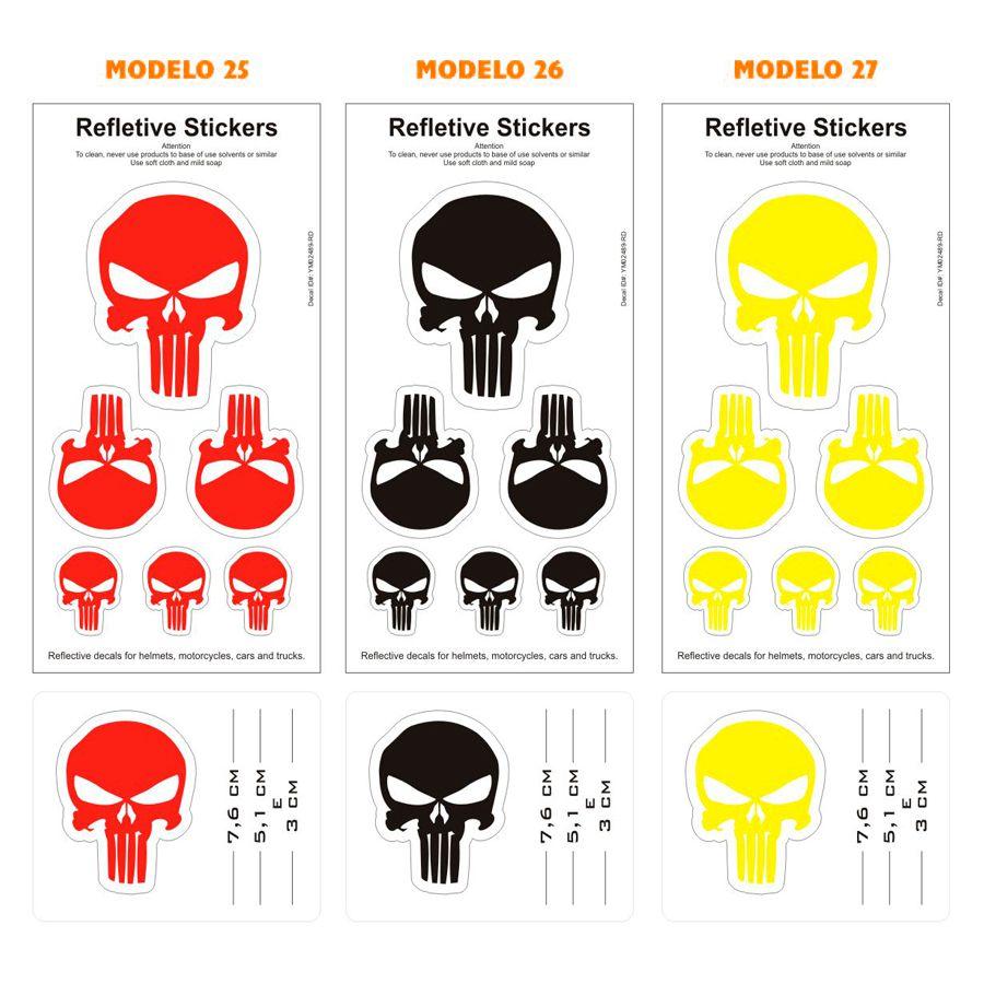 Adesivo Refletivo P/ Capacete e Moto - Cartelas Diversas Marcas