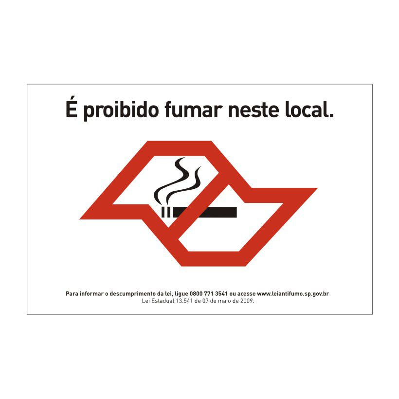 Adesivos Sinalização Proibido Fumar 20x30 Cm - kit com 5 unidades