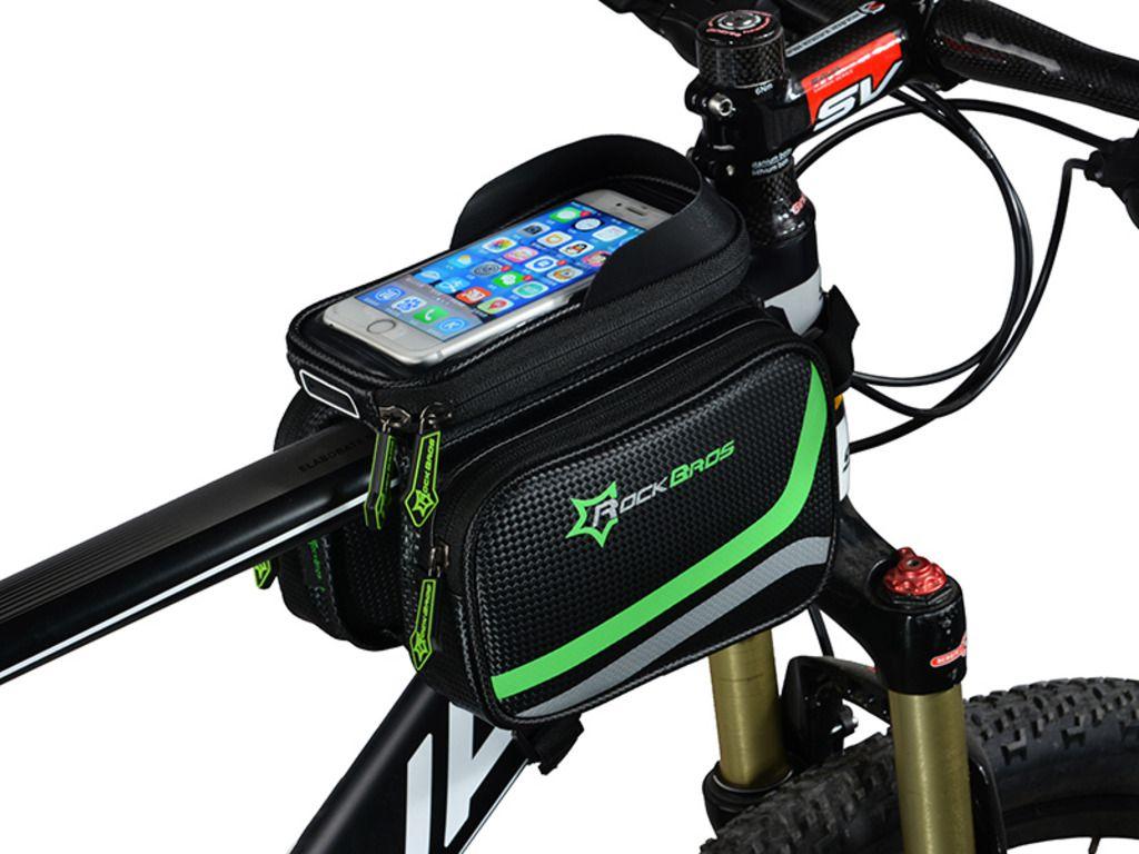 Bolsa bike Alforge P/ Quadro Bicicleta Rockbros Carbono porta Celular