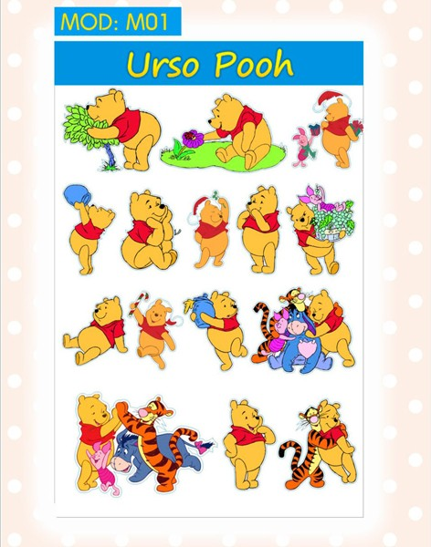 Cartela Adesivos Ursinho Pooh e sua turma