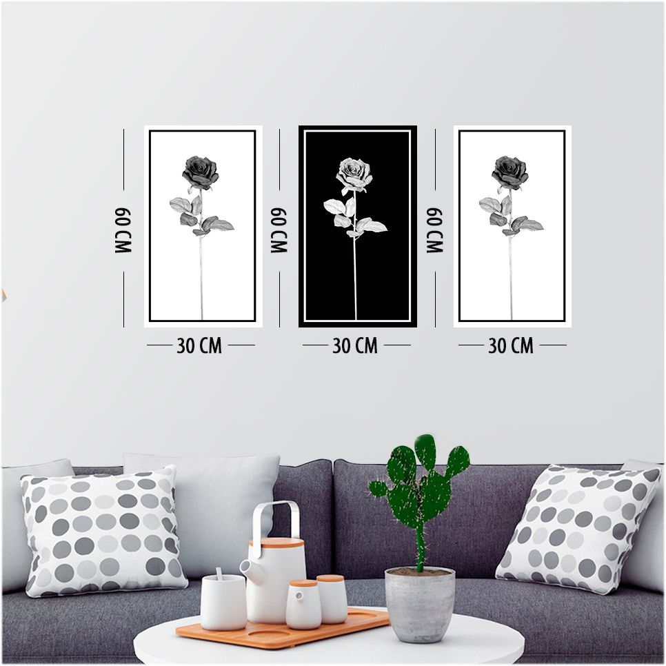 Adesivo Decorativo para Parede - Flores - Rosa Monocromática Ref. 03