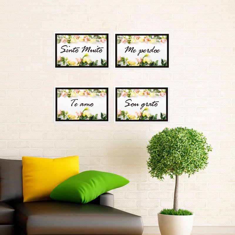 Kit 4 Placa Decorativa Quadro Oração Ho'oponopono  20 x 30 cm - rosas