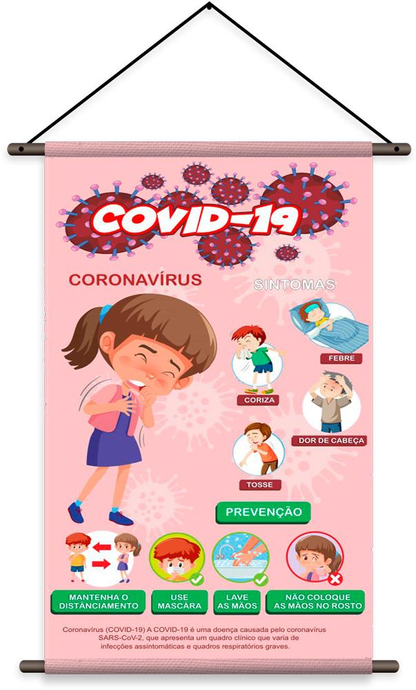 Kit com 4 Banners de  Prevenção ao Covid-19 / Coronavirus / Distanciamento Social