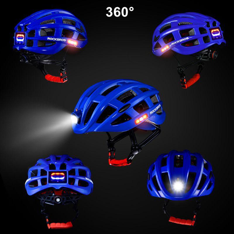 Lançamento! Capacete Bike Rockbros Farol E Lanternas Integrados - Vermelho