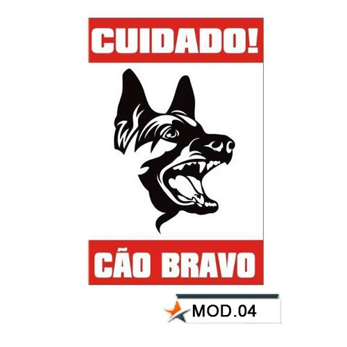 Placa de Advertência em PVC - Cão Bravo