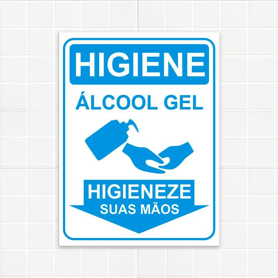 Placas Informativas Higienização - Álcool Gel