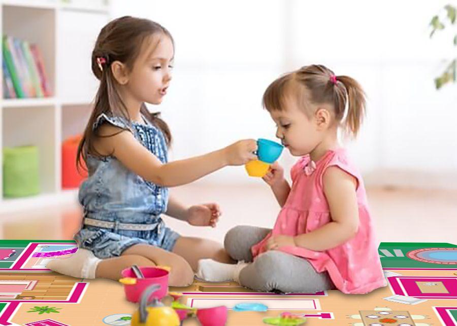 Tapete Ilustrativo em lona para meninas brincar CASINHA e BONECA
