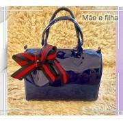 Bolsa Mãe e Filha: Azul Envernizada com  Laço | LANÇAMENTO ♡ ♡