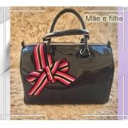 Bolsa Mãe e Filha: Preta Envernizada com Laço   LANÇAMENTO ♡ ♡
