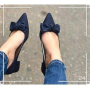 Sandália Jeans Bico Fino e Laço | FRETE GRÁTIS ♡ ♡