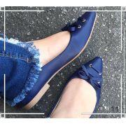 Sapatilha Azul com Bico Fino e Laço  ♡ ♡
