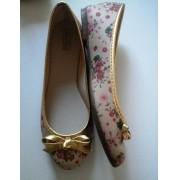 Sapatilha Flores com Laço Dourado | PRONTA ENTREGA ♡ ♡