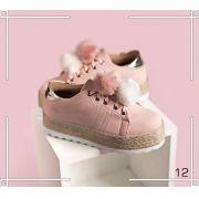 Tênis Feminino Rosa com Salto e Pom Pom | FRETE GRÁTIS ♡ ♡