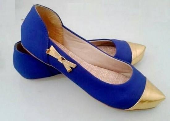Sapatilha Azul Bico Fino Dourado | PRONTA ENTREGA ♡ ♡