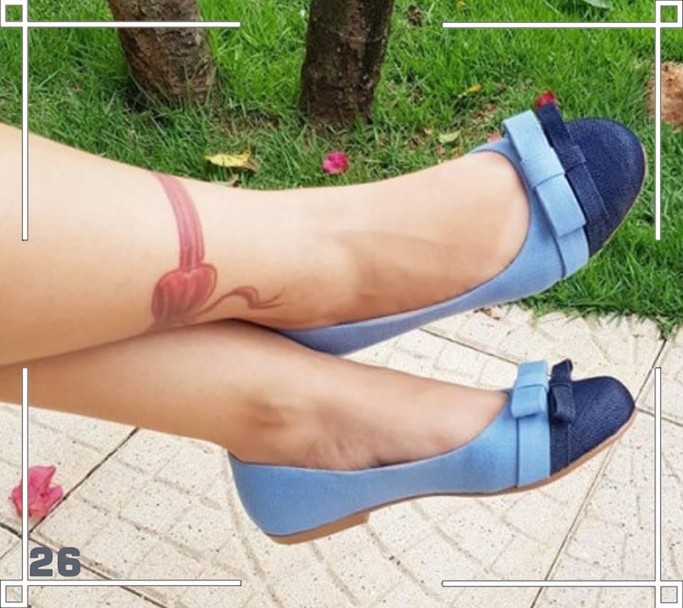 Sapatilha Azul com Bico Redondo e Laço Reto ♡ ♡