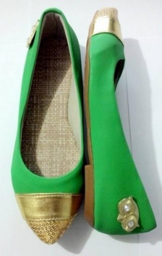 Sapatilha Verde com Dourado Corujinha | PRONTA ENTREGA ♡ ♡