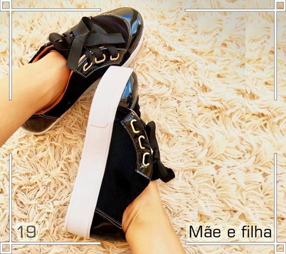 Tênis Mãe e Filha  Preto com Laço de Cetim   9825  ... ca873fd956a4c