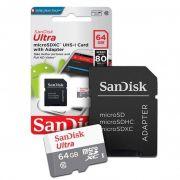 CARTÃO MICRO SD 64GB CLASSE 10 ULTRA SANDISK