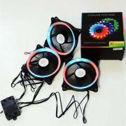 KIT - 3X COOLER RGB GABINETE 12CM C/CONTROLE NEWDRIVE