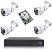 KIT - DVR 4 CANAIS + 4 CAMERAS AHD ELGIN + HD 320GB