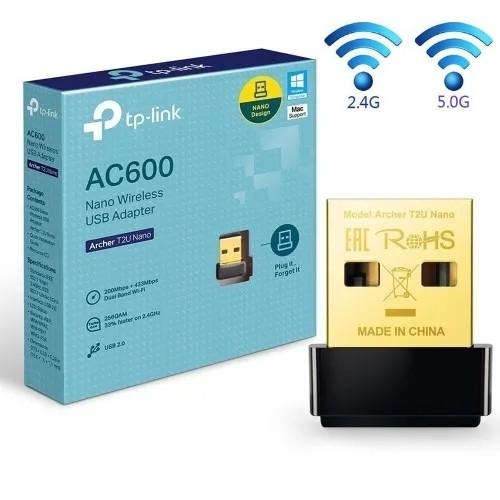 ADAPTADOR USB WI-FI 2.4GHZ E 5GHZ NANO AC600 T2U TP-LINK
