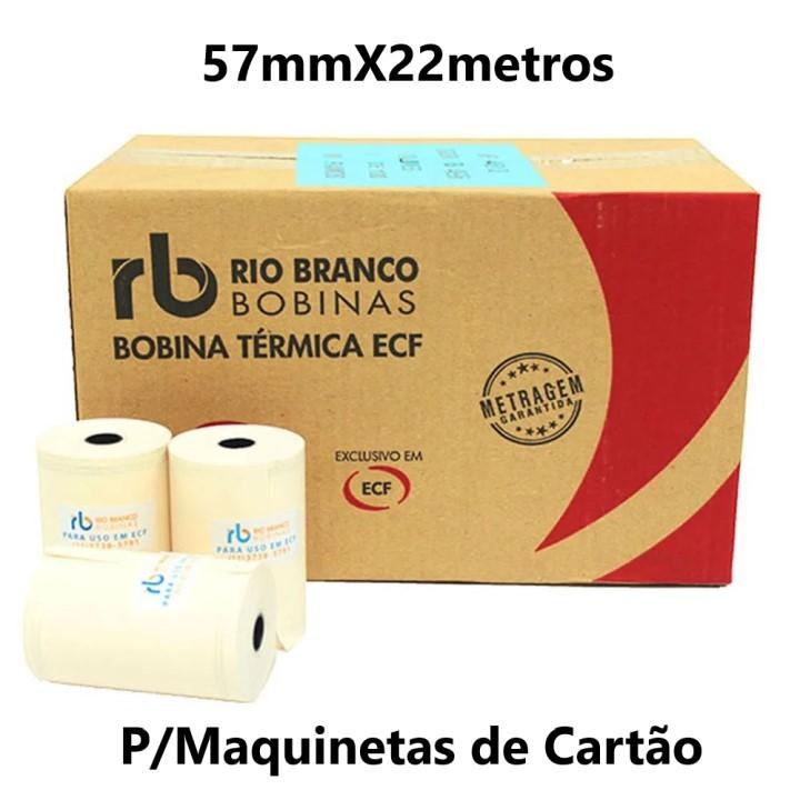 BOBINA TÉRMICA 57MMX22METROS CAIXA C/30UND AMARELA RIO BRANCO (P/MAQUINETA DE CARTÃO)
