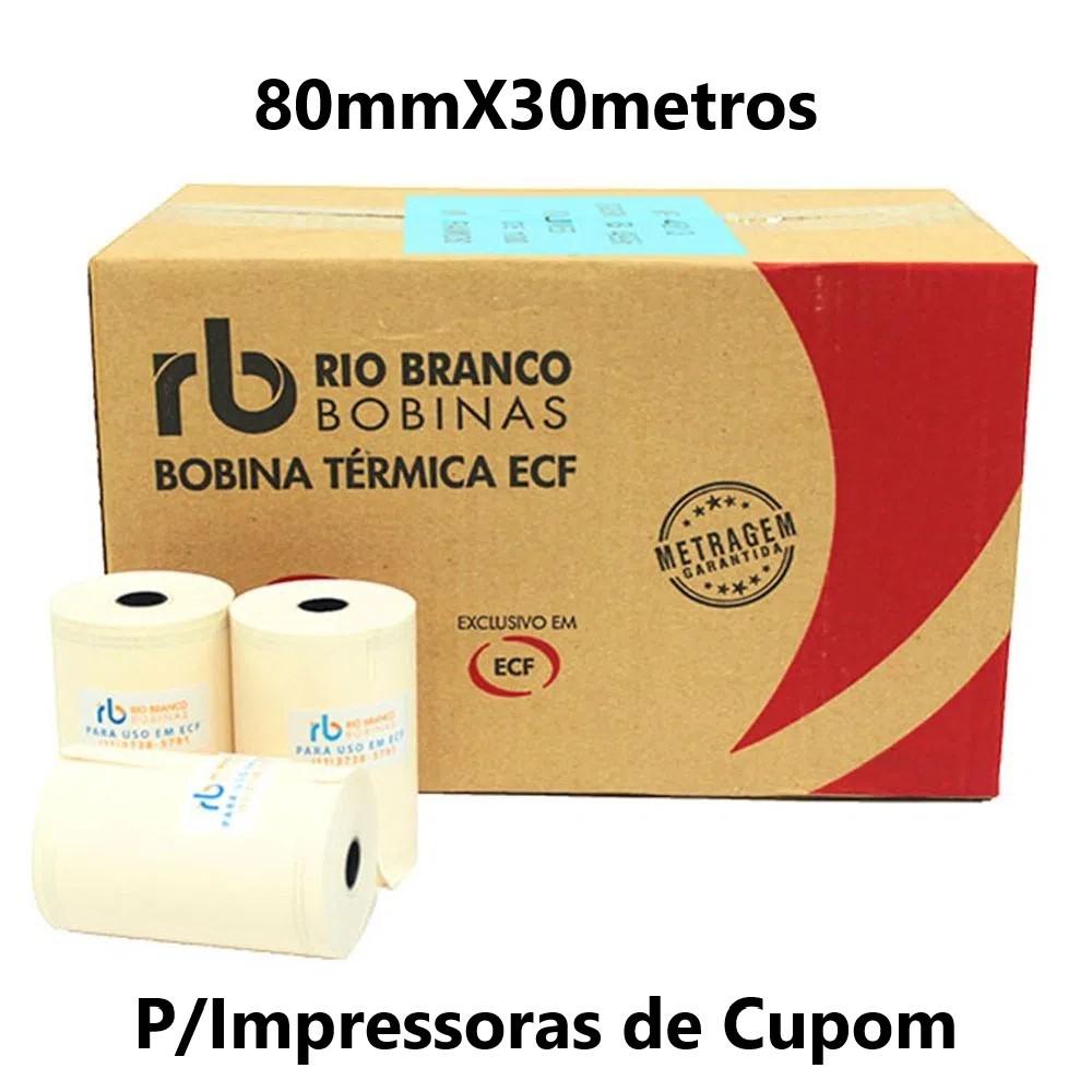 BOBINA TÉRMICA 80MMX30METROS CAIXA C/30UND AMARELA RIO BRANCO (P/IMPRESSORAS DE CUPOM)