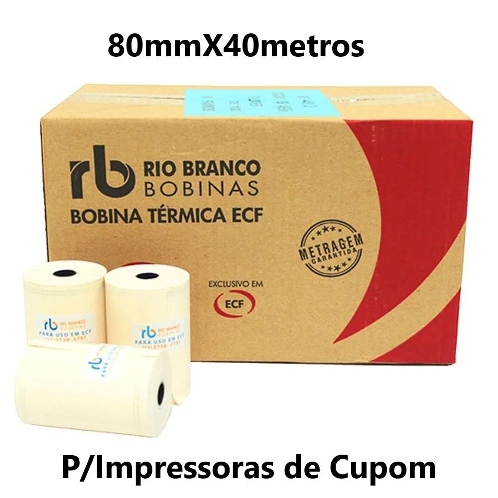 BOBINA TÉRMICA 80MMX40METROS CAIXA C/30UND AMARELA RIO BRANCO (P/IMPRESSORAS DE CUPOM)