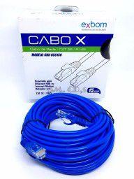 CABO DE REDE LAN CAT5E AZUL 15 METROS EXBOM  - Express Informática