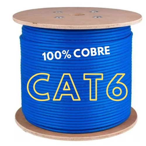 CABO DE REDE LAN 4 PARES CAT6 305M AZUL 100% COBRE COPPERLAN
