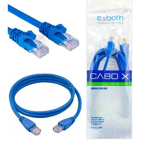 CABO DE REDE PATH CORD CAT5E AZUL 1 METRO CRIMPADO EXBOM