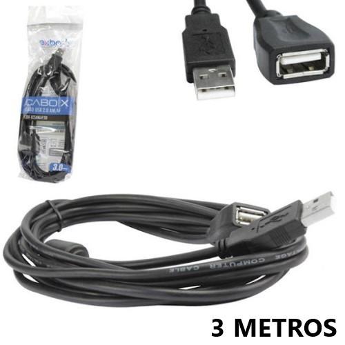 CABO EXTENSOR USB 2.0 MACHO-FEMEA 3 METROS C/FILTRO EXBOM