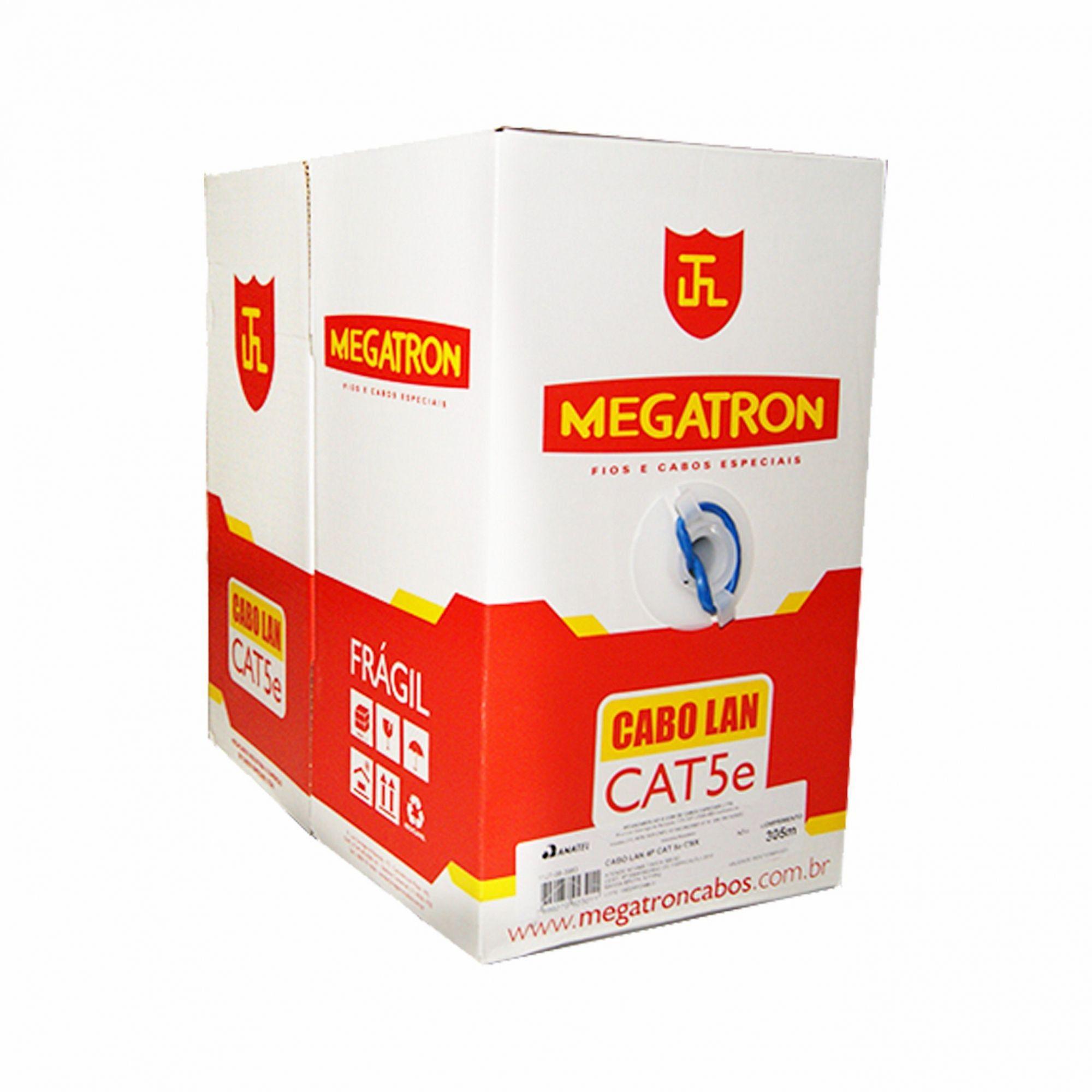 CABO LAN CAT5E 100% COBRE 305M CMX MEGATRON  - Express Informática
