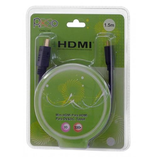 CABO MINI HDMI-HDMI 1,5METROS 1.4C AC140 PIXXO  - Express Informática