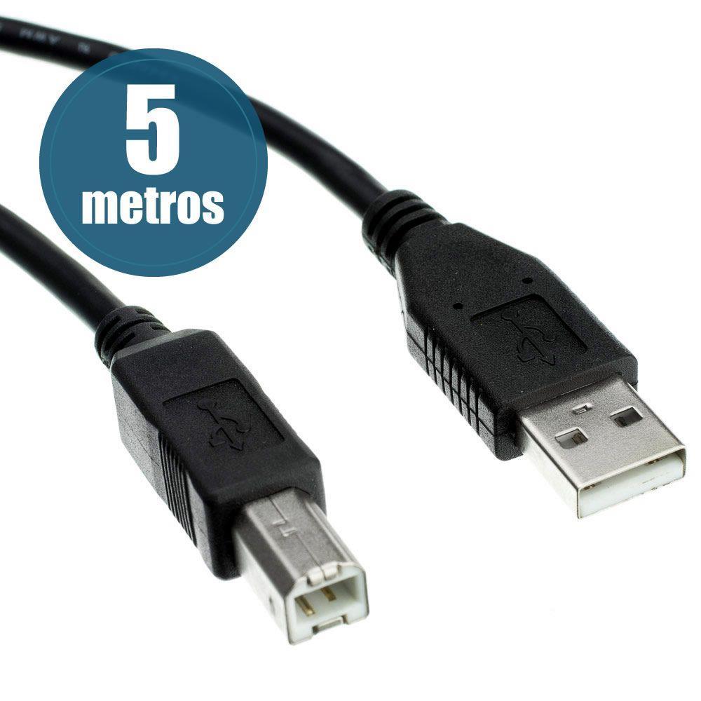 CABO USB 2.0 A/B P/IMPRESSORA 5 METROS LOTUS  - Express Informática