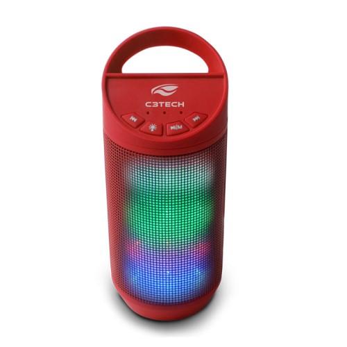 CAIXA DE SOM BLUETOOTH BEAT LED USB/MICRO SD/FM/AUX SP-B50RD VERMELHO C3 TECH