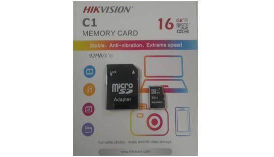 CARTÃO MICRO SD 16GB CLASS 10 C1 HIKVISION