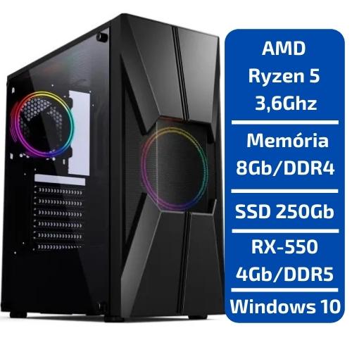 CPU - GAMER AMD RYZEN 5 3.6GHZ /SSD 250GB /MEM 8GB /RX550 4GB /WINDOWS