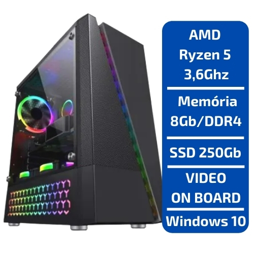 CPU - GAMER AMD RYZEN 5 3.6GHZ /SSD 250GB /MEM 8GB /WINDOWS
