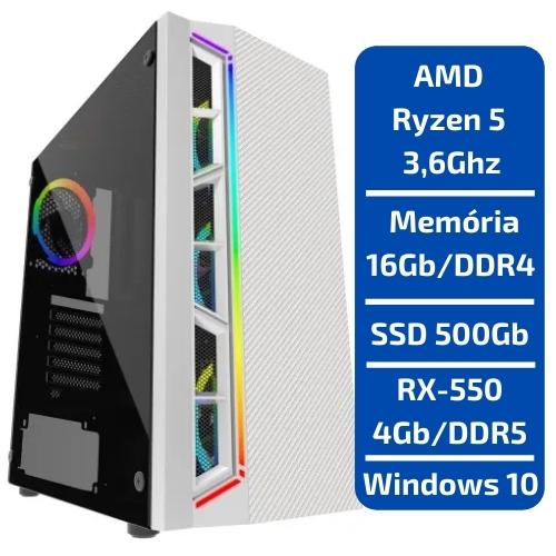 CPU - GAMER AMD RYZEN 5 3.6GHZ /SSD 500GB /MEM 16GB /RX550 4GB /WINDOWS
